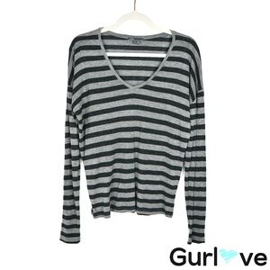 VINCE S Gray Stripped V Neck Long Sleeve Top
